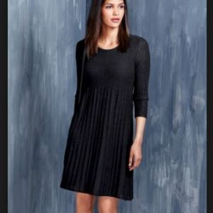 Eileen Fisher  Black Dress Pleated Washable Wool